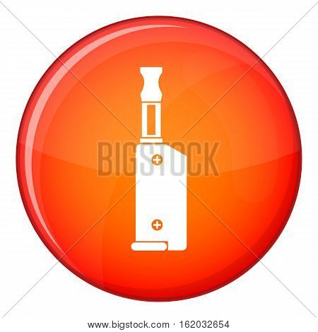 Electronic cigarette with mouthpiece icon in red circle isolated on white background vector illustration