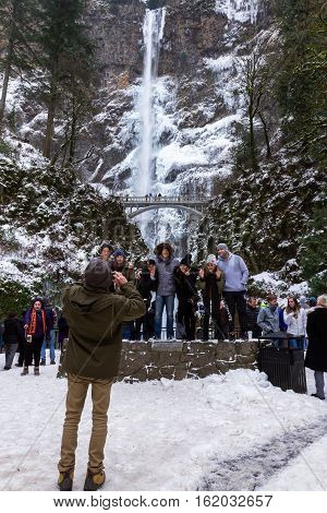Icy Multnomah Falls December 2016