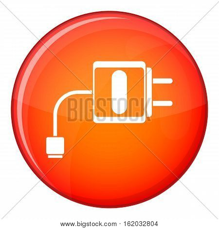 Mini charger icon in red circle isolated on white background vector illustration
