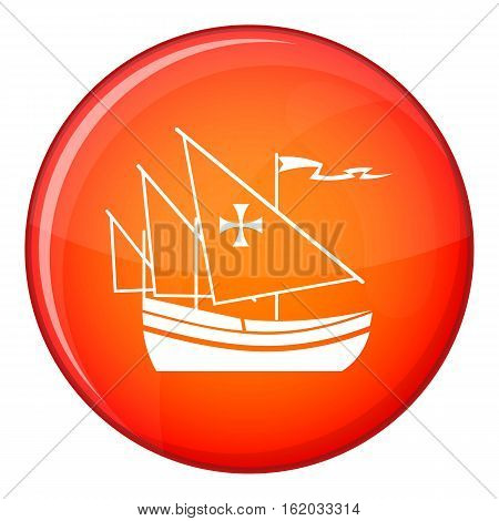 Ship of Columbus icon in red circle isolated on white background vector illustration