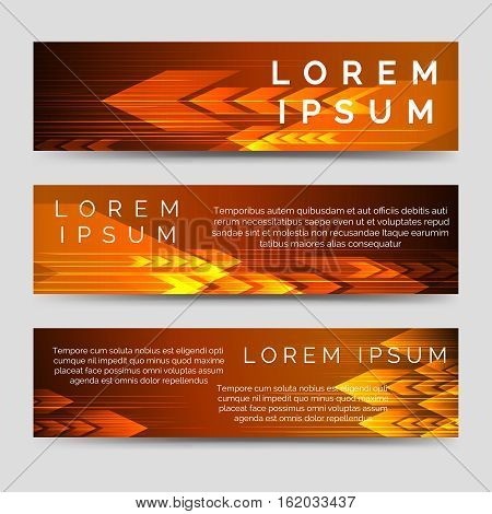 Speed banners template with black and orange arrows. Vector illustration