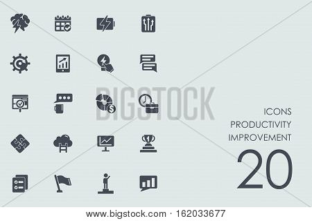 productivity improvement vector set of modern simple icons
