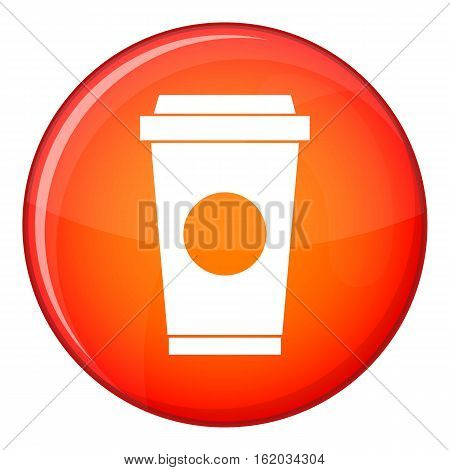 Coffee in take away cup icon in red circle isolated on white background vector illustration