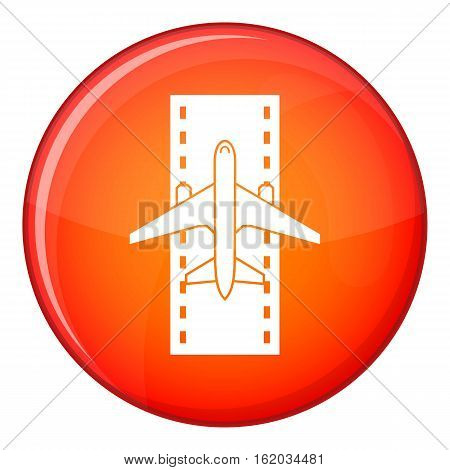 Airplane on the runway icon in red circle isolated on white background vector illustration