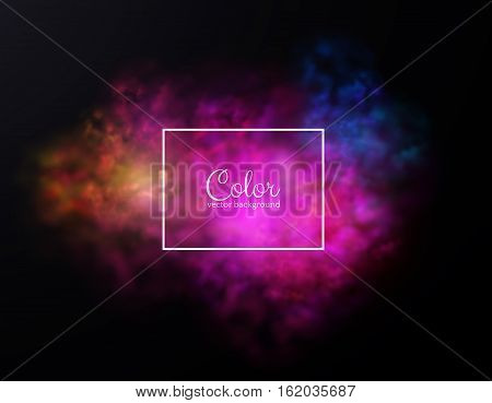 Colored dust explosion, color powder splashes background. Eps10