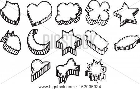 Vector icon set for cookies in different shapes in white background