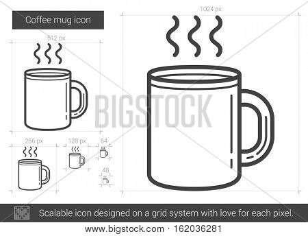 Coffee mug vector line icon isolated on white background. Coffee mug line icon for infographic, website or app. Scalable icon designed on a grid system.