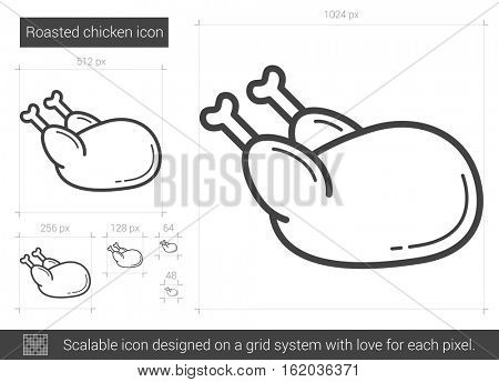Roasted chicken vector line icon isolated on white background. Roasted chicken line icon for infographic, website or app. Scalable icon designed on a grid system.