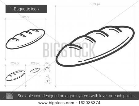 Baguette vector line icon isolated on white background. Baguette line icon for infographic, website or app. Scalable icon designed on a grid system.