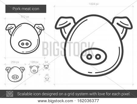 Pork meat vector line icon isolated on white background. Pork meat line icon for infographic, website or app. Scalable icon designed on a grid system.