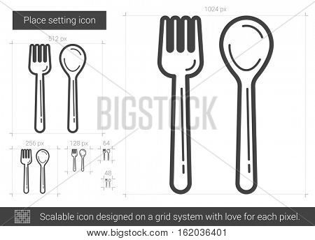 Place setting vector line icon isolated on white background. Place setting line icon for infographic, website or app. Scalable icon designed on a grid system.