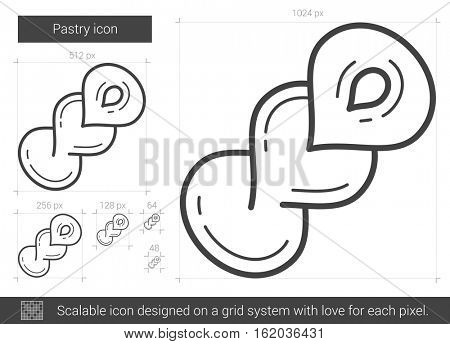 Pastry vector line icon isolated on white background. Pastry line icon for infographic, website or app. Scalable icon designed on a grid system.