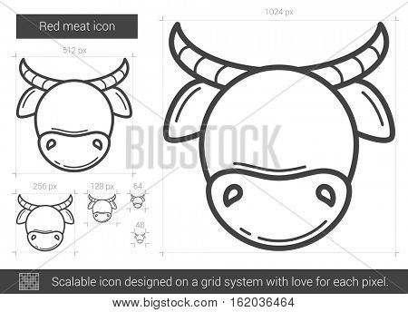 Red meat vector line icon isolated on white background. Red meat line icon for infographic, website or app. Scalable icon designed on a grid system.