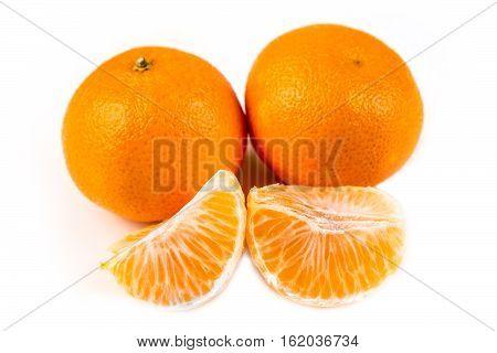 Three Navel Oranges One Peeled Two Unpeeled Isolated On White Background