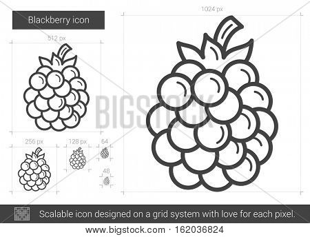 Blackberry vector line icon isolated on white background. Blackberry line icon for infographic, website or app. Scalable icon designed on a grid system.