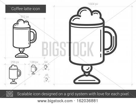 Coffee latte vector line icon isolated on white background. Coffee latte line icon for infographic, website or app. Scalable icon designed on a grid system.