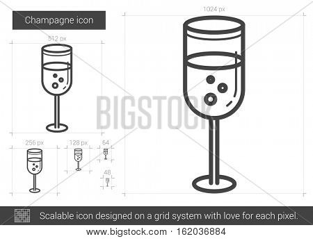 Champagne vector line icon isolated on white background. Champagne line icon for infographic, website or app. Scalable icon designed on a grid system.