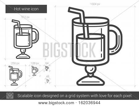 Hot wine vector line icon isolated on white background. Hot wine line icon for infographic, website or app. Scalable icon designed on a grid system.