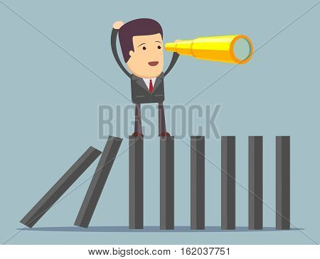 Businessman search in business strategy on domino. Stock vector illustration