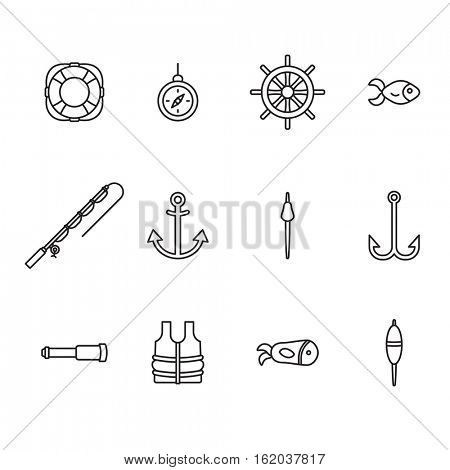 Vector icon set for fishing equipments on white background