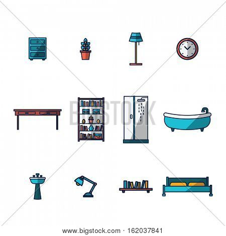 Vector icon set for furniture and home d�?�?�?�©cor on white background