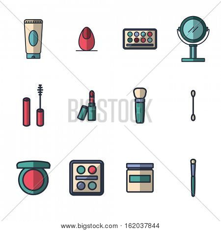Vector icon set for cosmetics on white background