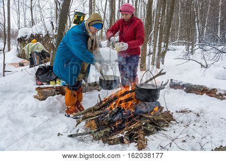 Cooking Dinner On A Fire In A Ski Trip, February 22, 2016.