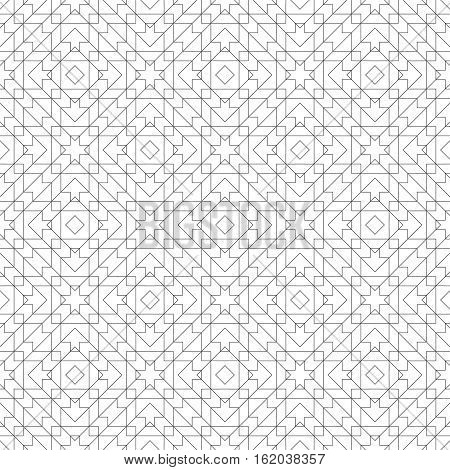 Geometrical seamless pattern. Stylish modern texture. Regularly repeating rhombic tiles with intersecting linear shapes. Vector abstract seamless background. Thin line grid. Contemporary design