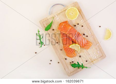 Fillet Of Red Fish. Fresh Salmon Fillet. Top View