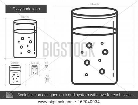 Fizzy soda vector line icon isolated on white background. Fizzy soda line icon for infographic, website or app. Scalable icon designed on a grid system.