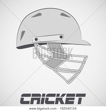 Cricket Helmet in sketch style. Side view. Sports Vector Illustration isolated on background.