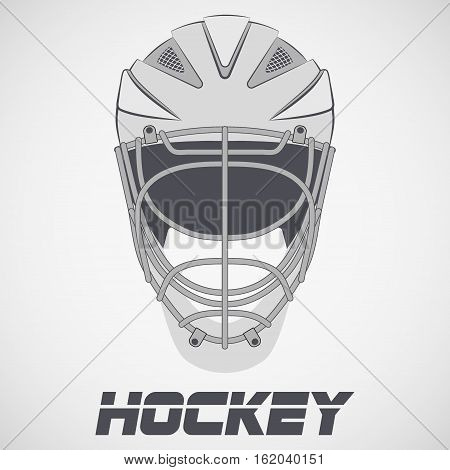 Goalie Hockey Helmet sketch style. Ice and Grass Field sport. Vector Illustration isolated on background.