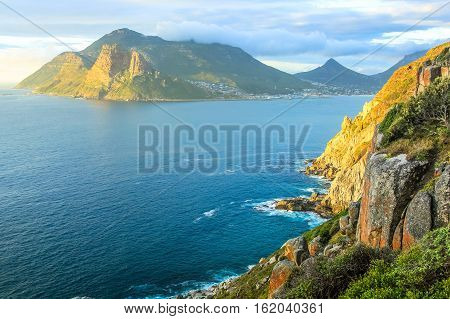 The Lookout Point at sunset in Hout Bay from the famous and scenic Chapman's Peak Drive, Cape Town, South Africa.