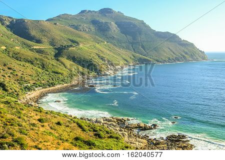 The winding stretch of road between Hout Bay and Noordhoek near Cape Town is one of the most attractive sightseeing monuments in South Africa.