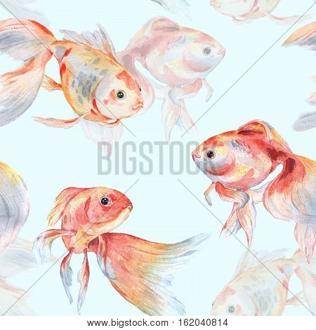 Seamless pattern with goldfish on a blue background 2. Watercolor painting. Handmade drawing.