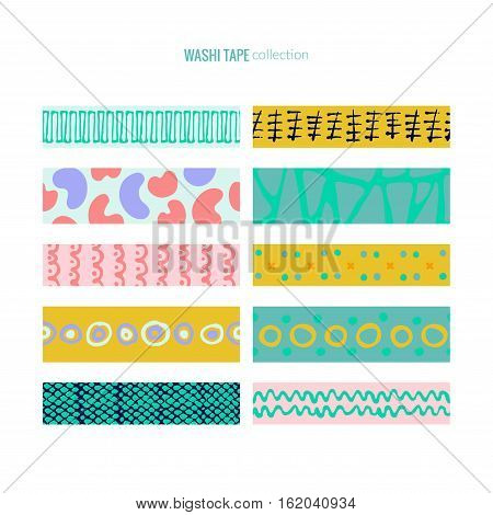 Set of cute washi tape. Decorative stripes with pastel colors and hand drawn patterns