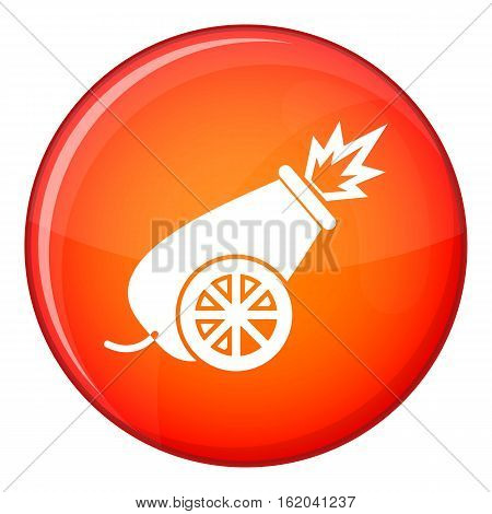 Circus cannon icon in red circle isolated on white background vector illustration