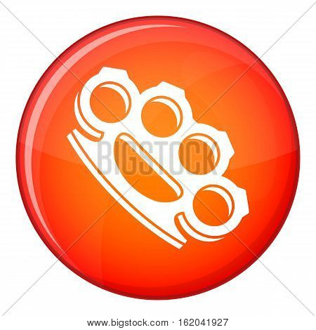 Brass knuckles icon in red circle isolated on white background vector illustration