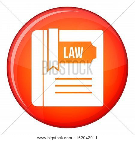 Law book icon in red circle isolated on white background vector illustration
