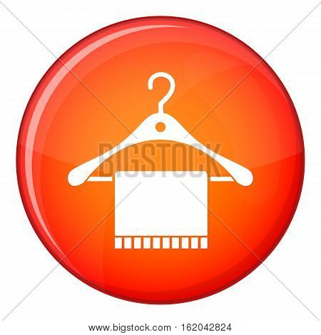 Scarf on coat hanger icon in red circle isolated on white background vector illustration