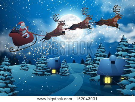 Santa Claus Flying on a Sleigh with Deer. House Snowy Christmas Landscape Fir Tree at Night and Big Moon. Concept for Greeting or Postal Card. Background Vector Illustration in Cartoon Style.