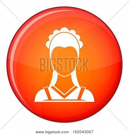 Maid icon in red circle isolated on white background vector illustration
