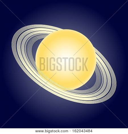 Schematic model of the planet Saturn. Astronomical symbols. Vector illustration