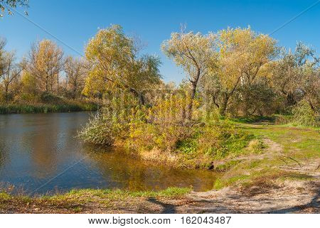 Riverside of small Ukrainian river Oril (left inflow of biggest river Dnepr) at fall season