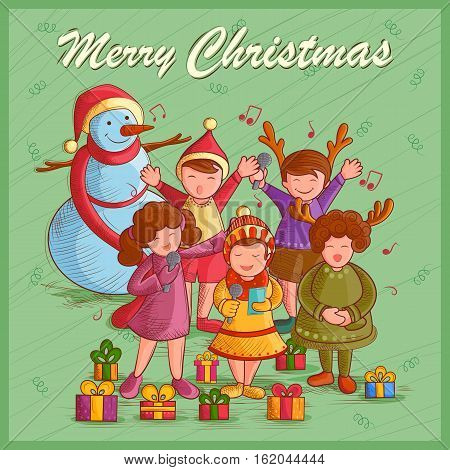Vector design of kids singing Carol for festival Merry Christmas holiday background