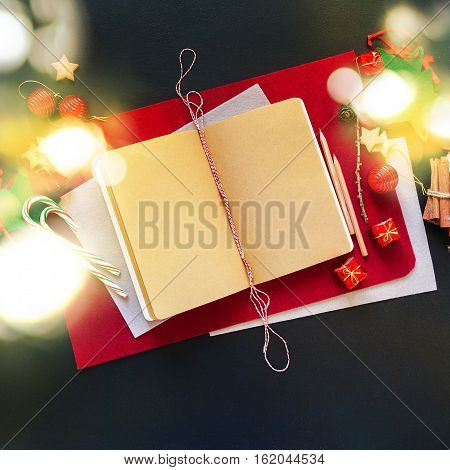 Christmas Red Notebook For Message Holiday