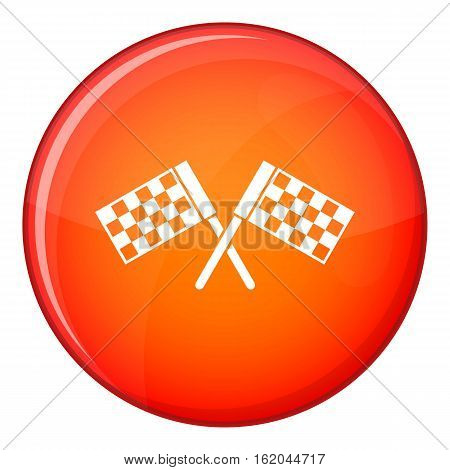 Crossed chequered flags icon in red circle isolated on white background vector illustration