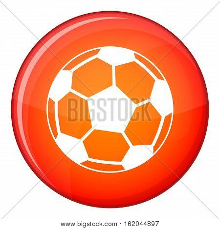 Soccer ball icon in red circle isolated on white background vector illustration