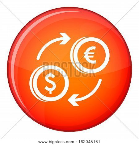 Euro dollar euro exchange icon in red circle isolated on white background vector illustration