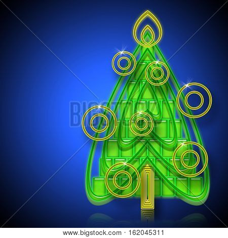 Abstract Christmas Tree on a blue background